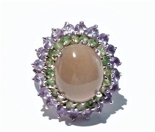 Tanzanite Ring, Moonstone Ring, Tsavorite Garnet Ring, Exotic Ring, Handmade, Size 7