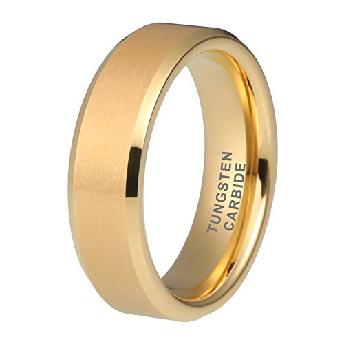 (iTungsten 6mm 8mm 18K Gold Tungsten Rings for Men Women Wedding Bands Matte Finish Beveled Edges Comfort)