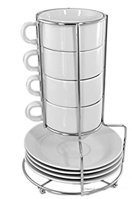 Set 9 Piece Porcelain 7oz Cappuccino Coffee Tea Cups & Saucers with Chrome Rack