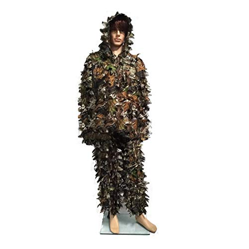 Qnlly Ghillie Suit Set, 3D Leafy Woodland Camouflage Clothing, Hunting Camouflage,Lightweight & Durable Outdoor Camo Outfit for Youth and Adult,S/M]()