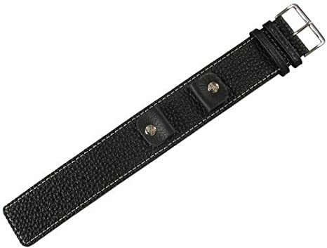 Fluco Vigo 18mm Riveted Black Leather Cuff Mens Watch Strap ...