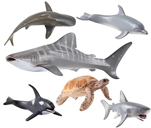 Sea Ocean Animals Figure Bath Toys Set,6 Piece Jumbo Sea Animals Toys,Realistic Wild   Vinyl Pastic Animal Learning Party Favors Toys For Boys Girls Kids Toddlers Big   (Schleich Sea Animals)