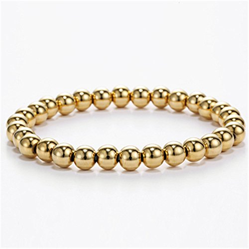 Ourania Stainless Steel Bead Elastic Bracelet Gold Plated Color