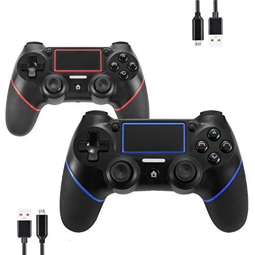 Sollop Wireless Bluetooth Controller for PS4 Playstation 4 - Touch Panel Joypad with Dual Vibration Six Axies DualShock Game Remote Control Joystick, with USB Charge Cord(Blue and Red)