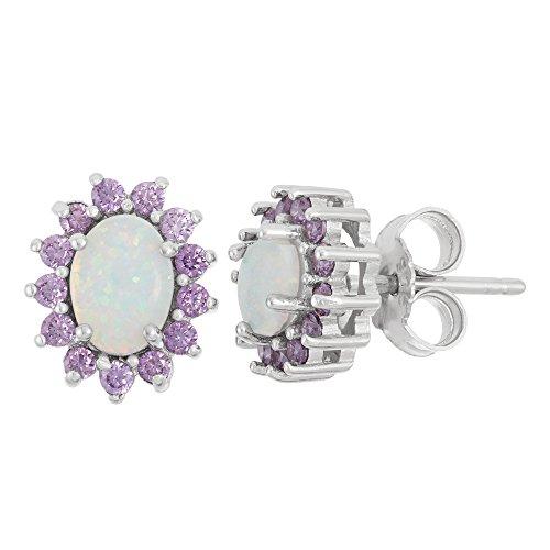 Sterling Silver Created White Opal & Amethyst CZ Stud Earrings