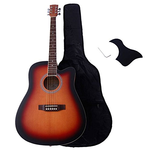 Glarry 41'' Spruce Front and Rosewood Fingerboard Cutaway Folk Guitar for Music lovers with Guitar Bag and Accessories include Board and Wrench (sunset) by GLARRY