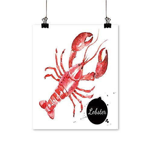 Home Decor Drawn Lobster Isolate seafoo or Shellfish Foo on White Art Wall Art for Room,32