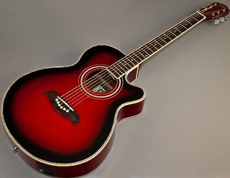 Nueva Oscar Schmidt og10cetr rojo flameado concierto acústico guitarra eléctrica: Amazon.es: Instrumentos musicales
