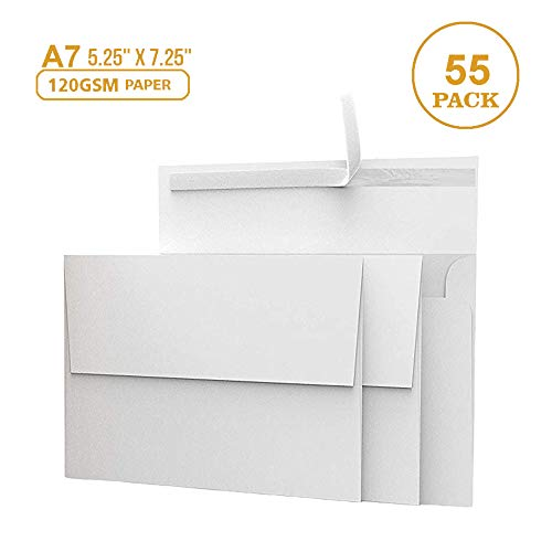 55 5x7 White Invitation Envelopes - for 5x7 Cards - A7 - (5 ¼ x 7 ¼ inches) - Perfect for Weddings, Graduations, Baby Showers - 120 GSM - 32lb/80lb Text - Peel, Press & Self Seal - Square Flap ()