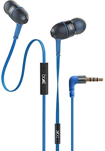 boAt BassHeads 228 Extra Bass with Pouch in Ear Wired Earphones with Mic (Blue)