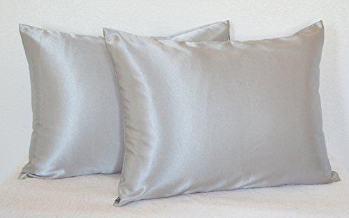 Creative 2 Pieces of Hidden Zipper Satin Pillow Case, Standard Size , Silver
