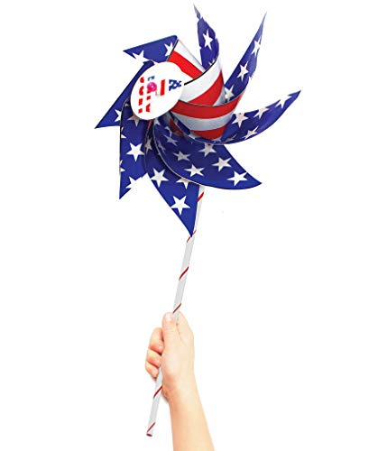 VHALE 12pcs DIY Patriotic Paper Windmill Pinwheels Spinner for 4th of July, Independence Day, Memorial Day, Veteran Day, American Flag, Classroom Crafts, Garden Lawn Decor and Party Favors for Kids