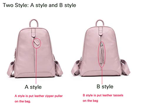 Ladies's Women's Beige Leather Real Backpacks Schoolbag Bag Teenagers Cowhide B Nature qrvXfawr