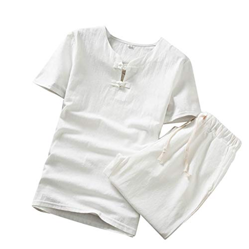 TOPUNDER Men's Summer Fashion Casual Comfortable Cotton-Hemp Short Sleeve Shorts Suit White