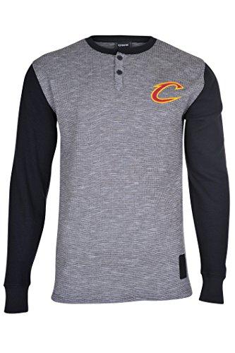 Cavalier Black Sweatshirt (NBA Men's Cleveland Cavaliers Henley Shirt Pullover Long Sleeve Sweatshirt, Small, Black)