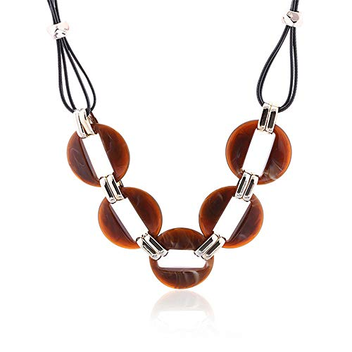 WANZIJING Tortoise Shell Necklace, Acetate Link Necklace Chunky Statement Necklace Good Luck Pendant Necklace for Women,Brown