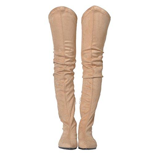 Stivali Al Ginocchio Da Donna, Scarpe Basse Con Tacco Basso In Merumote Stivali Impermeabili Per Lautunno Inverno Beige