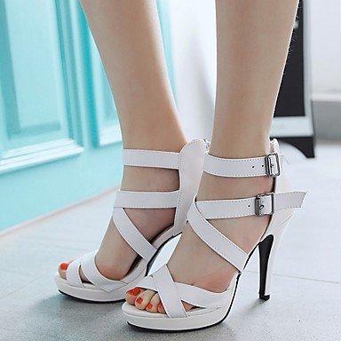 Hebilla Blanco Stiletto Negro Verano cms Sandalias LvYuan Otoño 12 PU Tacón White Semicuero 10 Mujer Paseo HwAnaq10x