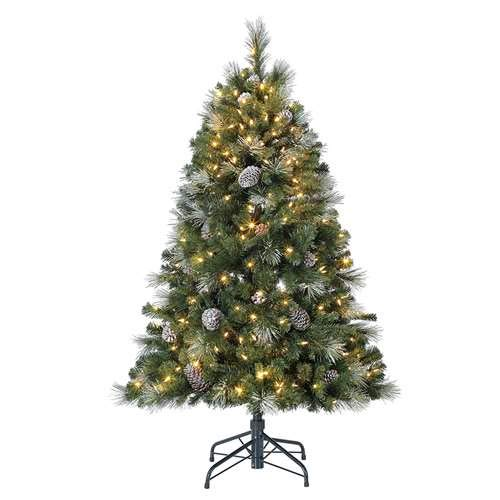 Home Heritage Lincoln 5 Foot 300 LED Bulb Christmas Tree w/Pine Cones & ()