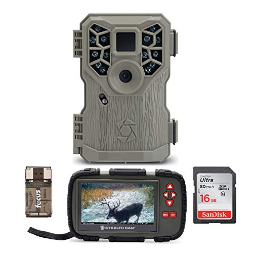 Stealth Cam PX14X P-Series IR Trail Camera with Image and Video Viewer (Touch Screen, Compact), Memory Card and Focus USB Reader