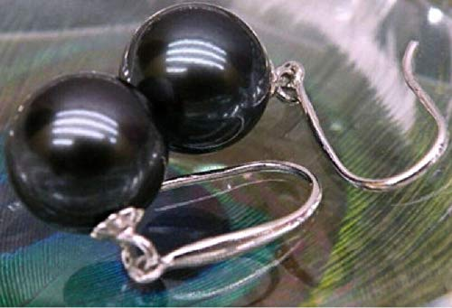 Natural Round Black 10-11mm Tahitian Pearl Earrings | White Gold Hook