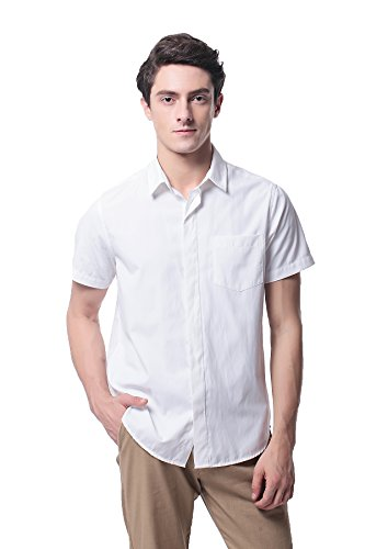Pau1Hami1ton P-09X Oxford Shirt Short Sleeve Men (S,White) White Pointed Collar Dress Shirt