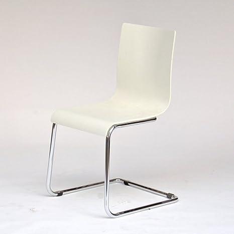 8er Set Freischwinger Stuhl Esszimmerstuhl Visby Holz Weiss