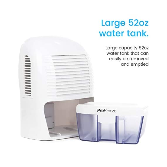 Pro Breeze Electric Mini Dehumidifier, 2200 Cubic Feet (250 sq ft), Compact and Portable for High Humidity in Home, Kitchen, Bedroom, Basement, Caravan, Office, Garage 3 SMALL & COMPACT - Lightweight, Compact and Portable Ð Capable of removing up to 18 ounces of water per day with a 52-ounce water tank capacity. Ideal for rooms up to 2200 cubic feet (220 sq ft) AUTO SHUT OFF: When full the dehumidifier will automatically shut off and the LED light will turn-on indicating the water tank needs draining. Simply empty the water tank and place it back into the dehumidifier ULTRA-QUIET & EFFICIENT: Built-in Thermo-Electric Cooling Technology (Peltier) operates without a compressor meaning whisper quiet operation in bedrooms, bathrooms and offices