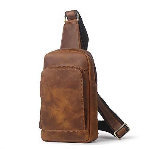 Daypack Vintage Pour Brown Messenger Crossbody Cuir À Voyage color Houyazhan Homme Véritable Brown Sac Randonnée École Pack Sling Bandoulière En De ORtwnznBCq