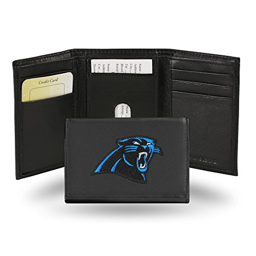 NFL Carolina Panthers Embroidered Genuine Leather Trifold Wallet (Tri Carolina Panthers Fold Wallet)