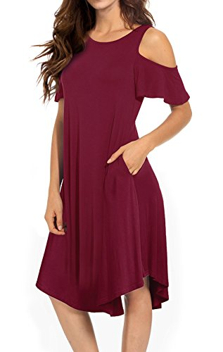 VERABENDI Women's Casual Cold Shoulder Midi Dress Short Sleeve Swing Dress with Pockets Dark Red