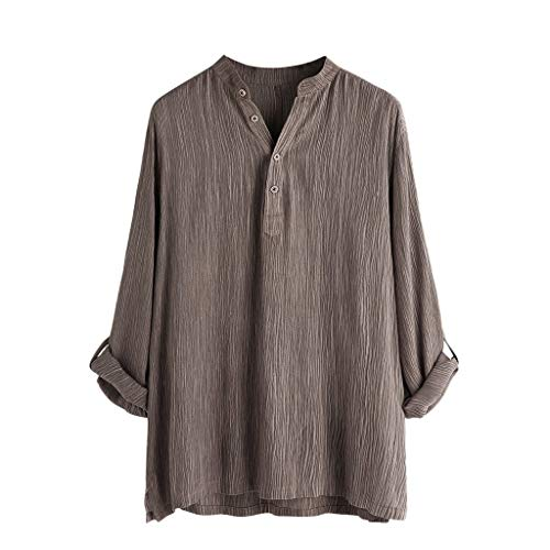 Mens Tees V Neck Cotton Linen Pleated Hippie Shirts Long Sleeve Buttons Casual Henley T-Shirt Top Blouse Brown