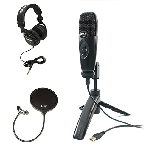 Cad U37 USB Condenser Microphone (Black) with Headphones and Pop Filter by CAD