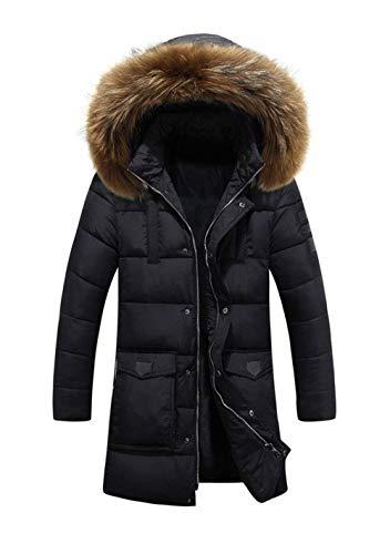 Down Collar Jacket Unique Men's Jacket Down Warm Hooded Warm Thick Coat Schwarz Fur Coat Winter Coat Jacket Quilted Hooded Winter Winter Down FTp5RTw
