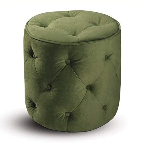 AVE SIX Curves Tufted Round Ottoman with Espresso Finish Solid Wood Legs, Spring Green Velvet Fabric