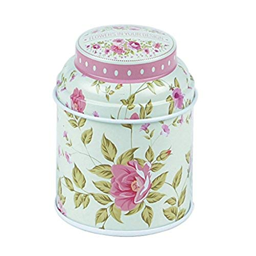 (yanQxIzbiu Tea Container, Premium Tinplate Caddy Box Vintage Flowers Cylinder Round Tea Tins for Home Kitchen Storage Containers Colorful Tins- MT-02)