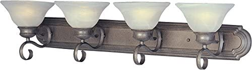 Maxim 8024MRPE Pacific 4-Light Bath Vanity, Pewter Finish, Marble Glass, MB Incandescent Bulb , 13W Max., Dry Safety Rating, 2700K Color Temp, Glass Shade Material, 2700 Rated Lumens