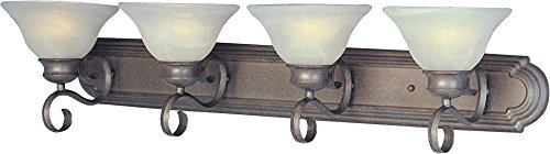 Maxim 8024MRPE Pacific 4-Light Bath Vanity, Pewter Finish, Marble Glass, MB Incandescent Bulb , 13W Max., Dry Safety Rating, 2700K Color Temp, Glass Shade Material, 2700 Rated Lumens (Pewter Accessories Bathroom)