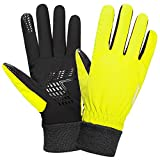 womens bike ware - Anqier Winter Gloves for Men Women Thermal Waterproof Warm Fleece Gloves Driving Running Cycling Cold Weather Gloves (Yellow, Small)