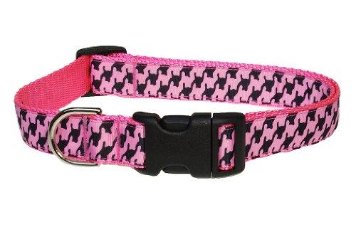 "Large Pink/Black Houndstooth Dog Collar: 1"" wide, Adjusts 18-28"" - Made in USA."