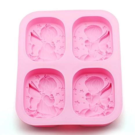 Cupcinu Molde de silicona para tartas de 4 cavidades de ángeles molde de hornear para niños y niñas antiadherente para magdalenas y dulces, hielo, ...