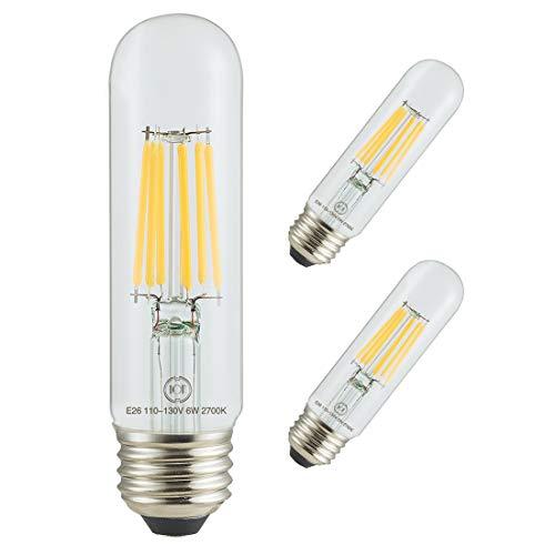 Led Filament Bulb Tubular Retro Vintage Edison T10 Style, Dimmable, E26 Medium Base, Warm Color Light, 750 Lumens, 60 Watt Incandescent Equivalent (Clear Color Glass, 6 Watt, Pack of 3)