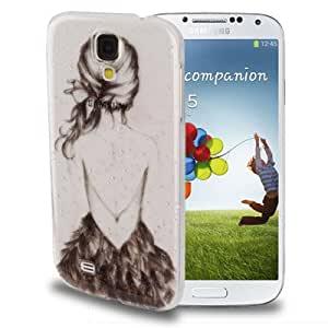 Raindrop Effect Girl Pattern Transparent Plastic Case for Samsung Galaxy S IV / i9500