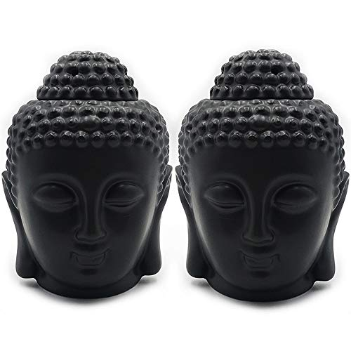 Moylor Buddha Head Essential Oil Diffuser Set of 2, Buddha Aromatherapy Diffuser Ceramic Candle Holder Incense Burner (Black)
