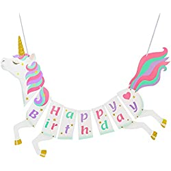Unicorn Happy Birthday Banner for Party Supplies Decorations