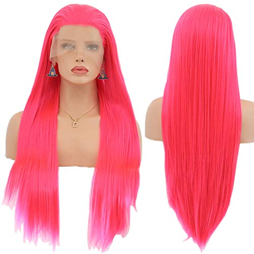 Magenta Pink Wigs for Women Long Straight Synthetic Hair Lace Front Wig Heat Resistant Fiber 26 inch (ST-025 hot pink) -