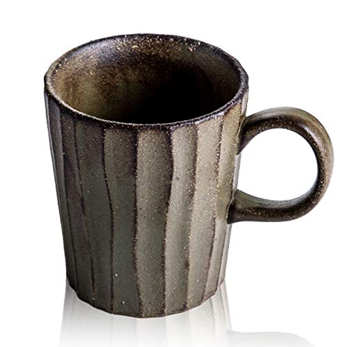 (Tomotime 14oz Pottery Ceramic Coffee Mug Tea Cup Porcelain Mugs, Brown)