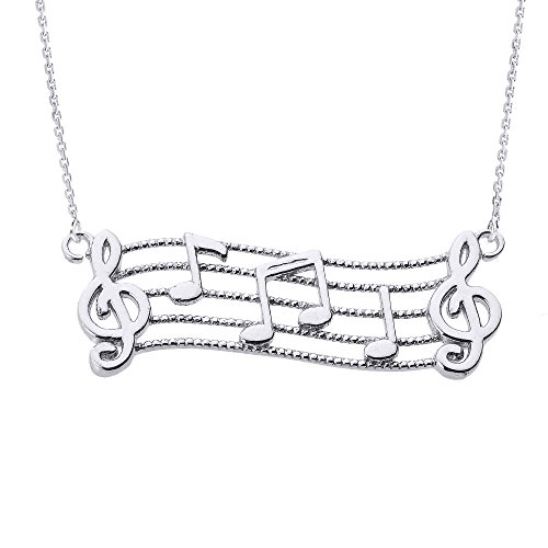 Sterling Silver Treble Clef with Musical Notes Pendant Necklace, 16
