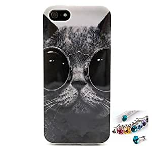 LCJ Glasses Cat Pattern TPU Back Cover Case and Dust Plug for iPhone 5/5S