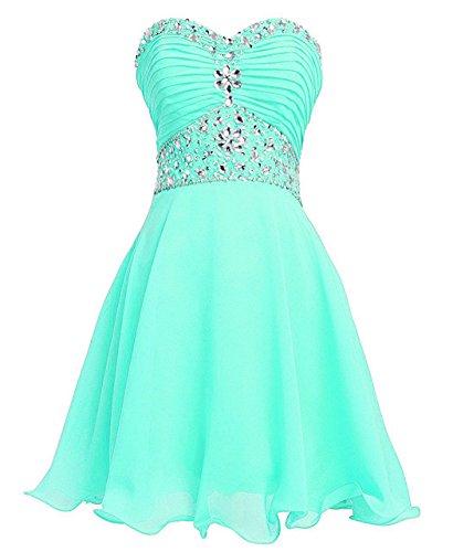 Women's Crystal Beadings Chiffon Short Empire Homecoming Dress Turquoise US18W (Sweetheart Neck Chiffon Beading)